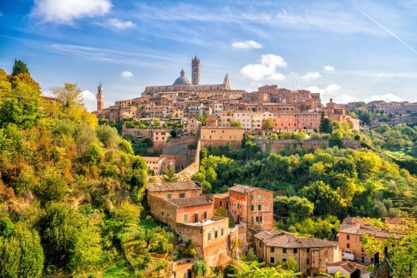 Downtown Siena skyline in Italy